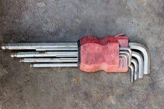 Durab barato hermoso inoxidable del fondo blanco de la herramienta de la llave de hex. Foto de archivo