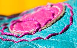 Durability of sewing thread leather macro detail. Durability of sewing thread leather slipper shoe macro detail in vivid colours stock photography