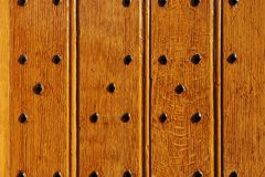 Durable castle wooden gate close-up Royalty Free Stock Photo