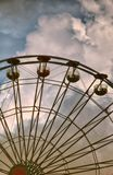 Durable metal - arched design of profiled metal and pipes. Metal used in amusement parks to manufacturing carousels, observation wheel. Metal structures Royalty Free Stock Photography