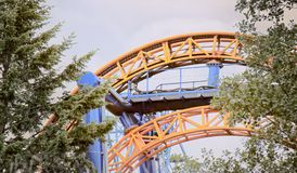 Durable metal - arched design of profiled metal and pipes. Metal used in amusement parks to manufacturing carousels and amusement rides., metal structures Stock Photos