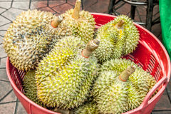 Durain on Basket, king of friut. Food and fruit street in chaina town, Thailand stock photography