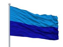 Duran City Flag On Flagpole, Ecuador, op Witte Achtergrond wordt geïsoleerd die vector illustratie