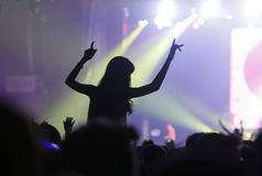 Duran duran at sonar 055. A girl raise her arms over the crowd during British pop band Duran Duran performance live at Sonar Advanced Music Festival in Barcelona stock image