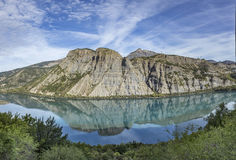The durance lake at lac de Serre Poncon in the Alps Royalty Free Stock Image