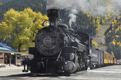 Durango Silverton Narrow Gauge Railroad-Trein Stock Foto