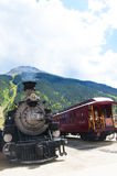 Durango to Silverton Train in Silverton an old Silver Mining town in the State of Colorado USA. The Narrow Gauge Railway from Durango to Silverton that runs Stock Image