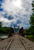 Durango Train tracks River Bridge Crossing perspective Royalty Free Stock Images