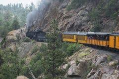 Durango und die Silverton-Schmalspur-Eisenbahn, die Dampf-Maschinen-Zug kennzeichnet, reiten, Durango, Colorado, USA Stockbild