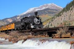 Durango y ferrocarril del indicador estrecho de Silverton imagenes de archivo