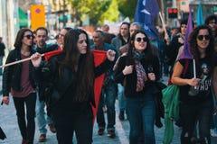 Durante a celebração do primeiro de maio no centro de cidade Imagem de Stock