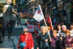 Durante a celebração do primeiro de maio no centro de cidade Foto de Stock Royalty Free