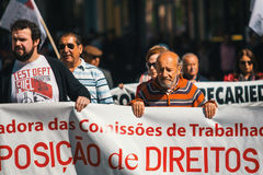 Durante a celebração do primeiro de maio no centro de cidade Fotos de Stock