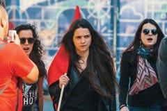 Durante a celebração do primeiro de maio no centro de cidade Imagens de Stock Royalty Free
