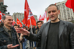 Durante a celebração do primeiro de maio Sergei Udaltsov - um dos líderes do movimento de protesto em Rússia Imagem de Stock Royalty Free