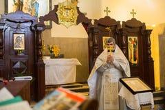 Durante a comemoração do batismo de Jesus na paróquia da igreja ortodoxa do russo Foto de Stock