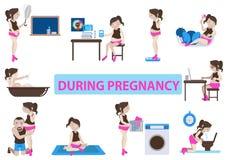 Durante embarazo stock de ilustración