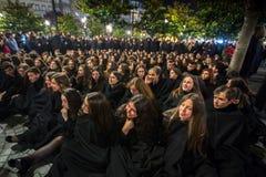 Durante il Queima il das Fitas - è una festività tradizionale degli studenti di alcune università portoghesi Fotografie Stock