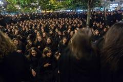 Durante il Queima il das Fitas - è una festività tradizionale degli studenti di alcune università portoghesi Fotografia Stock