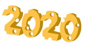 2020 durante l'anno di forma del formaggio del ratto Illustrazione isolata di vettore royalty illustrazione gratis