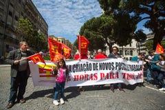 Durante la celebración del primero de mayo en el centro de ciudad Imagenes de archivo