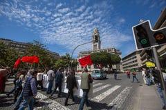 Durante la celebración del primero de mayo en el centro de ciudad Foto de archivo