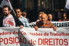 Durante la celebración del primero de mayo en el centro de ciudad Fotos de archivo