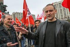 Durante la celebración del primero de mayo Sergei Udaltsov - uno de líderes del movimiento de protesta en Rusia Imagen de archivo libre de regalías