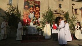 Durante la celebrazione la festività del Corpus Christi (corpo di Cristo) stock footage