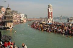Durante las celebraciones Makar Sankranti Foto de archivo