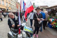 Durante o dia de bandeira da república do polonês - é o festival nacional introduzido pelo ato do 20 de fevereiro de 2004 Imagens de Stock Royalty Free