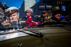 Durante o março imortal do regimento nas celebrações de Victory Day Foto de Stock Royalty Free