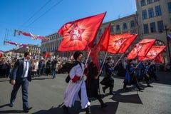 Durante o março imortal do regimento nas celebrações de Victory Day Imagens de Stock Royalty Free