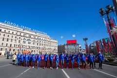 Durante o março imortal do regimento nas celebrações de Victory Day Imagens de Stock