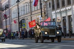 Durante o março imortal do regimento nas celebrações de Victory Day Imagem de Stock