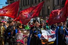Durante o março imortal do regimento nas celebrações de Victory Day Foto de Stock