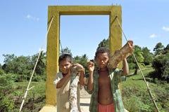 Durata del villaggio del fiume dei Cochi degli indiani, Nicaragua Fotografia Stock