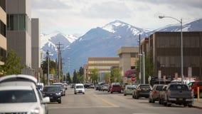 Durata dell'Alaska contro lo sfondo delle montagne fotografie stock libere da diritti