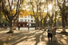 Durata della città universitaria di inverno dell'università di Sichuan Fotografie Stock Libere da Diritti