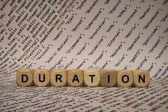 Duration - cube with letters and words from the computer, software, internet categories, wooden cubes. Wooden cubes with words from the computer, software royalty free stock photography