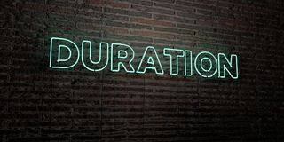 DURATION -Realistic Neon Sign on Brick Wall background - 3D rendered royalty free stock image. Can be used for online banner ads and direct mailers Stock Images