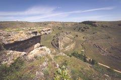 Duraton canyon and Sepulveda. Segovia. Castilla Leon. Spain. Eur Stock Photo