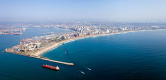 Durban city. Above view of durban city and harbor, south africa Royalty Free Stock Photo