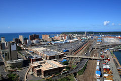 Durban City & harbor overview stock image