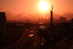 Durban city scape. Sunset over Durban, Kwazulu Natal.  Durban harbor and city.  City scape Stock Images