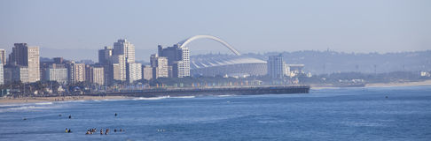 Durban city skyline. Durban city buildings and soccer stadium Royalty Free Stock Images