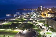 Durban coastline night. Durban's coastline as night sets in stock photos
