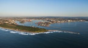 Durban hamn- och stadsantenn Arkivbilder