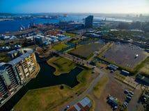 Durban hamnmun och område Arkivfoto