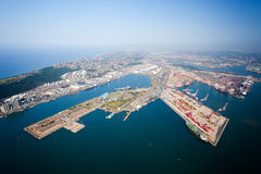 Durban harbor, south africa. Overhead view of durban harbor, south africa stock photo